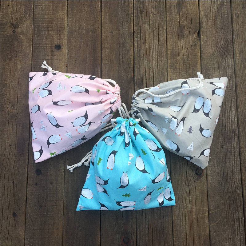 YILE 1pc Cotton Drawstring Pouch Party Gift Bag Print Penguin Blue Khaki Pink 81120c