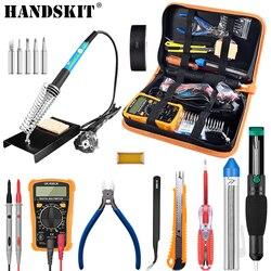 Handskit Soldering Iron Kit 110V 220V 60W Adjust Temperature Soldering Iron Multimeter Tweezer Desoldering Pump Welding  Tool