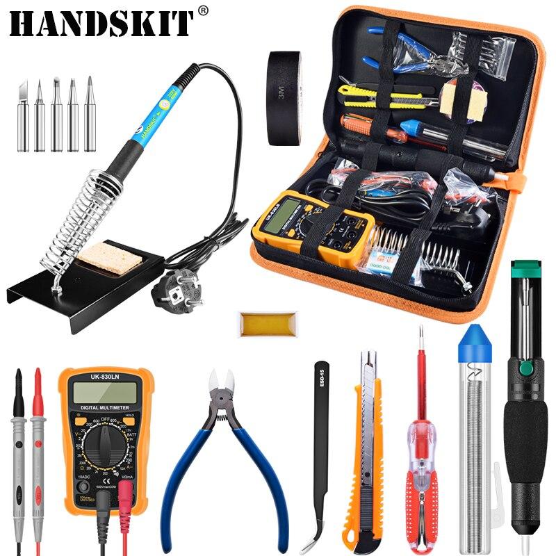 Handskit Température Électrique Fer À Souder Kit 110 v 220 v 60 w Fer À Souder kit Avec Multimètre Desoldeirng Pompe De Soudage outil