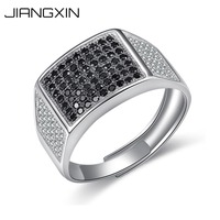 Adjustable Size 925 Sterling Silver Ring for Women Men Black White Diamond Black Gold White Gold Plated Fine Jewelry