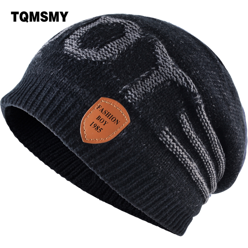 TQMSMY Letter Casual Men Women Winter Hat Beanie Hats cap Leather labeling Warm Knitted Skullies Bonnet Ski Warm Beanies TMD31 leather skullies cap hats 5pcs lot 2278