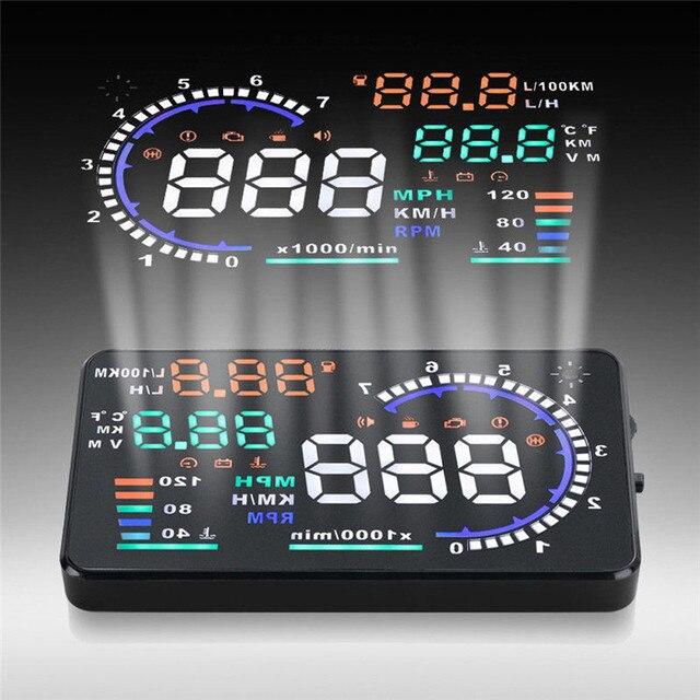 A8 Del Coche HUD Head Up Display OBD II 2 Sistema de Alerta De Velocidad Consumo de Combustible DICIEMBRE 23
