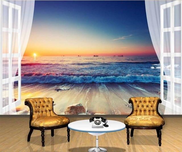 Personalizzato 3d carta da parati 3d soggiorno con vista mare fuori