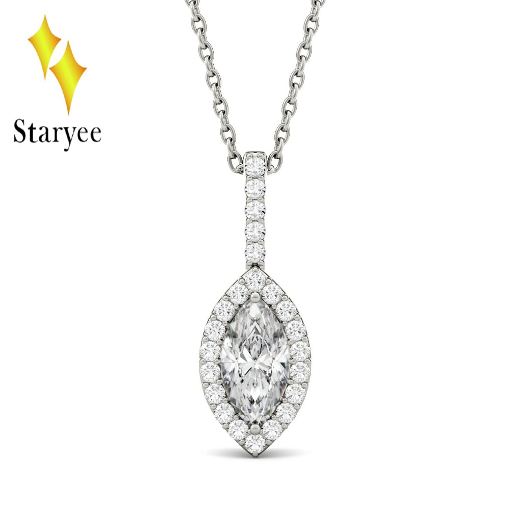 Marquise Moissanite Engagement Halo Necklace 1ct DEF Lab Grown Diamond 18K White Gold Wedding Necklace Pendant Fine Jewelry Gift