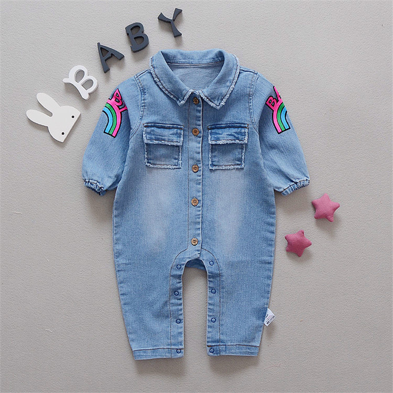 2b4f3f0c0 Baby Romper Soft Denim Fashion Rainbow and Giraffe Styles Infant Clothes  Newborn Jumpsuit Babies Boy Girls Costume Cowboy Jeans-in Rompers from  Mother ...