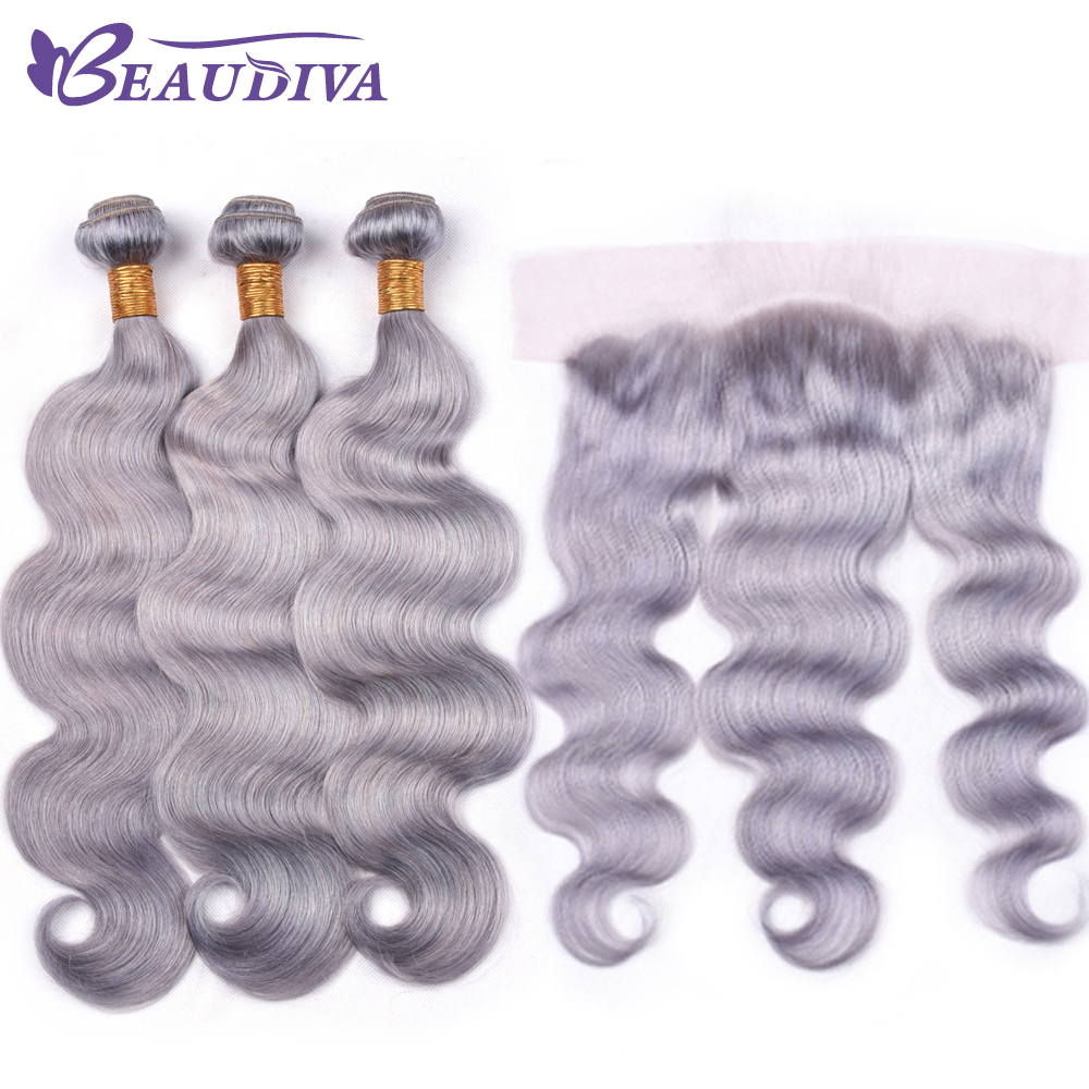Beaudiva Grey Color 2 3 Bundles With Lace Frontal Brazilian 100 Human Hair Body Wave Bundles
