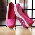 2016 Весна Лето Женская Обувь Клинья Снизу Туфли На Платформе для Женщин Мелкая Рот Сетка Дышащий Качели Женская обувь размер 40