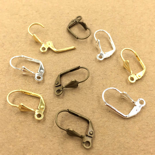 10x17mm Blank Clip Earring Hooks With Loop Diy Earrings Findings Accessories Jewelry Making Multi Color