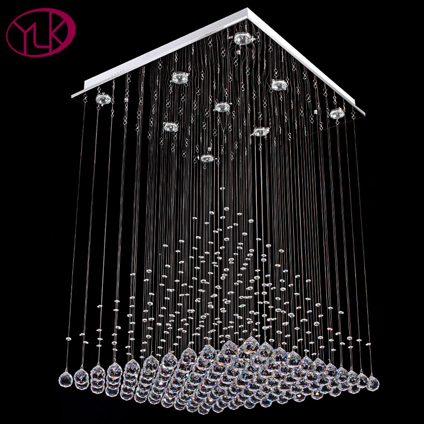 Youlaike Modern Crystal ChandelierFor Living Room Square Flush Mount Chandeliers Lighting Dining Room LED Lustre Cristal wrought iron chandelier island country vintage style chandeliers flush mount painting lighting fixture lamp empress chandeliers