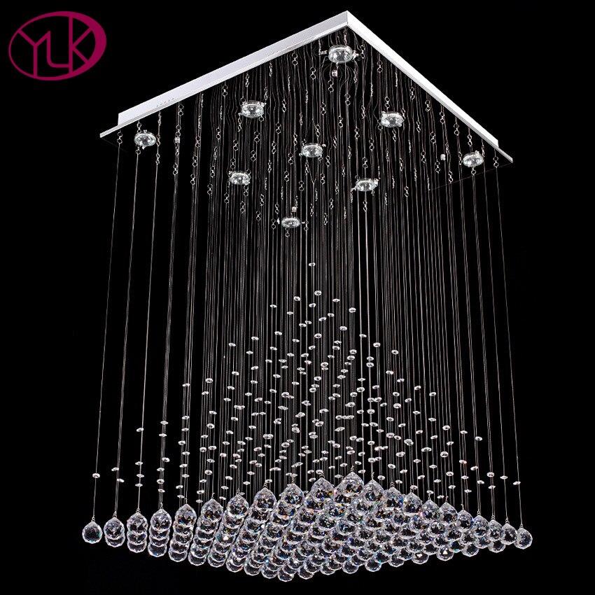 Youlaike Modern Crystal ChandelierFor Living Room Square Flush Mount Chandeliers Lighting Dining Room LED Lustre Cristal