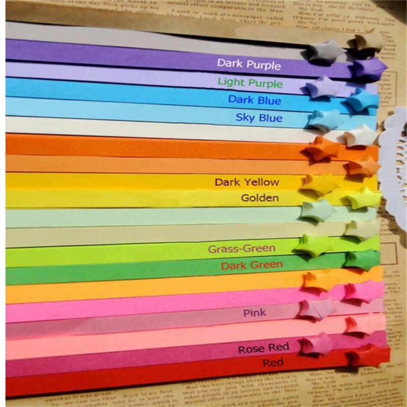 Origami Lucky Star Paper Strips Rainbow Striped and Floral Pack of 130 Strips