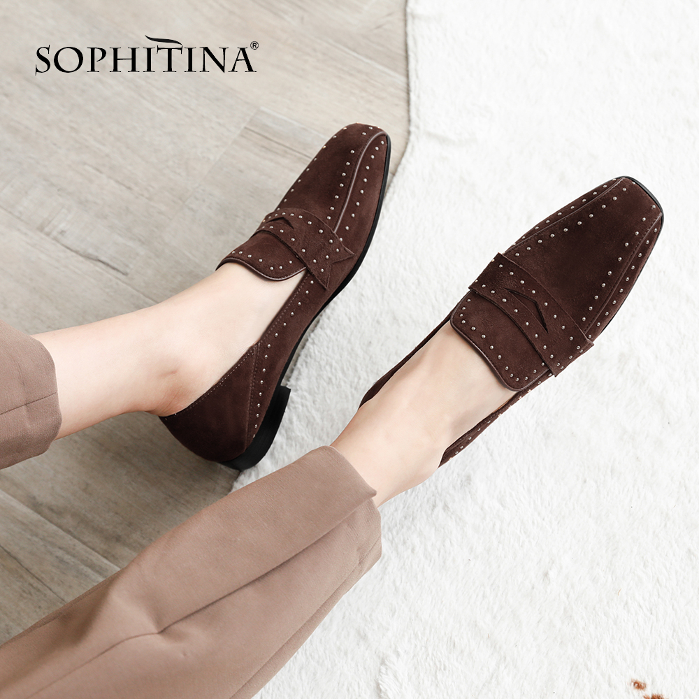 SOPHITINA Comfortable Kid Suede Loafers Flats Square Toe Fashion Handmade New Special Shoes Slip on Casual