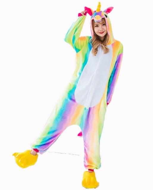 Rainbow Unicorn Onesie Pajamas Sets Adult Animal Halloween Costume Homewear Sleepwear Winter Warm Nightie For Men  sc 1 st  AliExpress.com & Aliexpress.com : Buy Rainbow Unicorn Onesie Pajamas Sets Adult ...