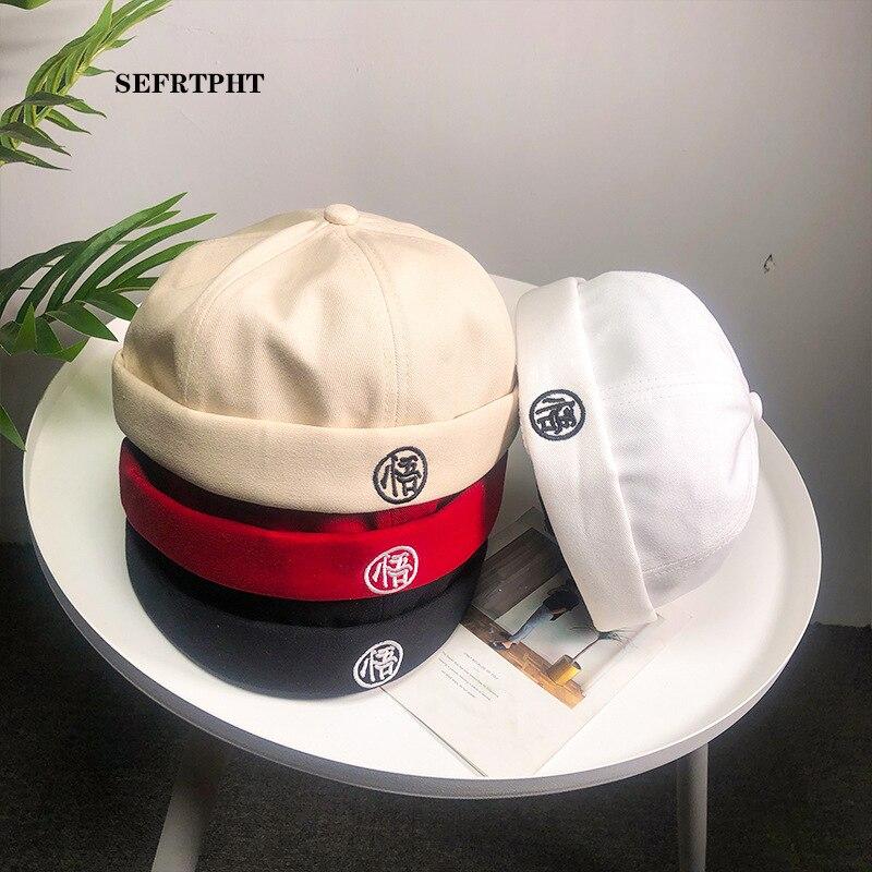 Novelty Fold Skullcap Vintage Solid Color Sailor Cap Watermelon Hat Men Bucket Cap Brimless Hat Adjustable  Cotton Bonnet  Women