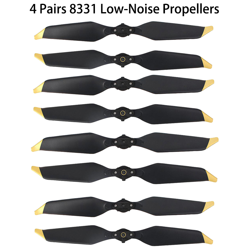 4 Pairs 8PC DJI Mavic Pro Platinum 8331 Low Noise Quick-Release Propellers (Golden/Silver ) for Mavic Pro Accessories Free Ship