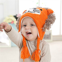 Kids Hat Lion Boys Winter Hat Cartoon Cute Lion Children Crochet Beanie Orange Hat Cotton Lined Animal Character Cosmetic Hat