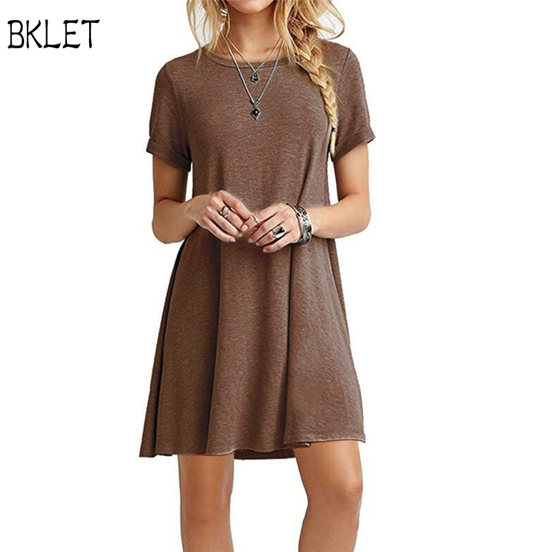 2018 New Summer Women Simple Casual Dress Short Sleeve O-Neck Solid Color Dress Loose Plus Size XXL Female Vestidos