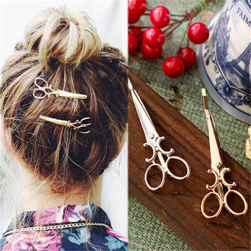 クリエイティブはさみ形状女性の女の子の髪クリップ繊細なヘアピンヘアバレッタヘアアクセサリー装飾