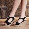Verano 2017 de La Manera Caliente Nuevas Mujeres Bagatela Sandalias de Los Zapatos Femeninos Para Las Mujeres de Cuero Nobuck de Color Rosa Negro Rojo