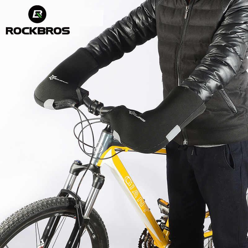 Rockbros велосипедные зимние теплые перчатки MTB велосипедный руль водостойкие ветрозащитные сохраняет теплая накладка длинные перчатки для верховой езды