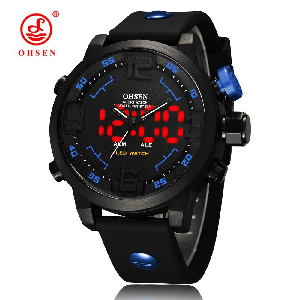 Prix pour 2016 nouveau ohsen marque numérique sport hommes quartz montre-bracelet mâle 50 m étanche bracelet en caoutchouc bleu de mode main horloges