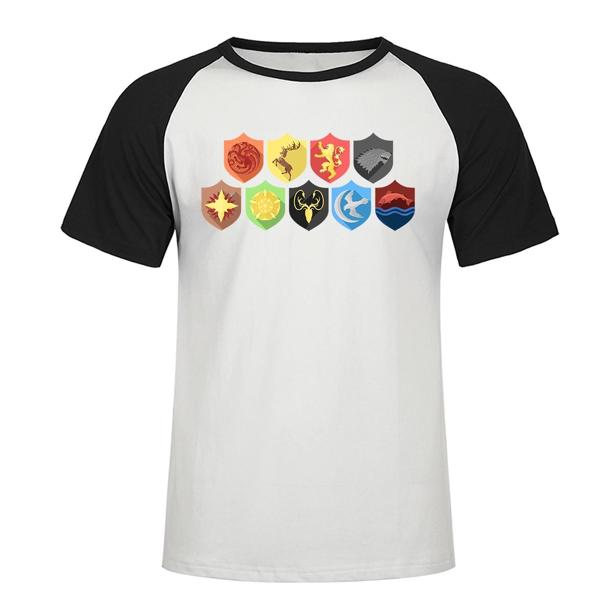 Game Of Throne T Shirt Animal Vintage Men Raglan T shirt Family Badge Pattern Printed Tshirt Family Badge Tops Tee Mens Clothes in T Shirts from Men 39 s Clothing