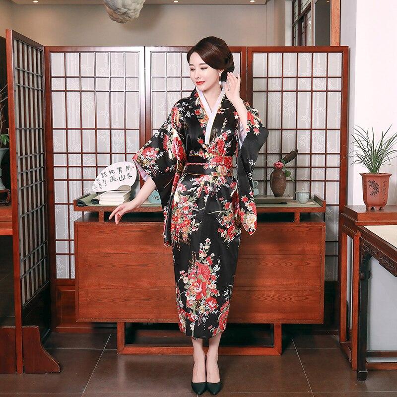 Japanese Traditional Black Print Flower Kimono Bathrobe Gown Woman Evening Party Dress Belt Yukata With Obi Cosplay Costume