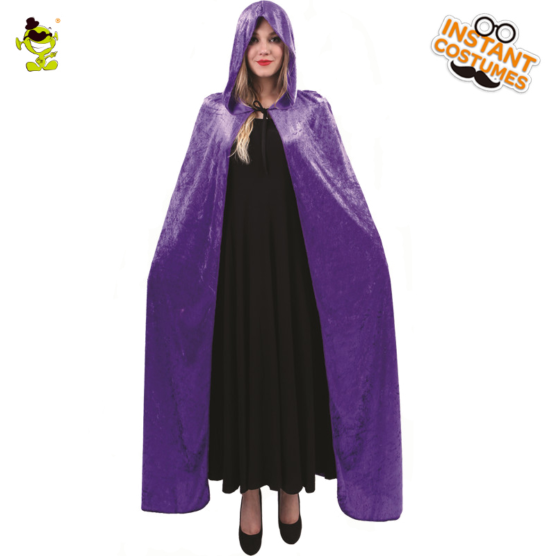 Halloween Party Womens Cosplay Wizard Cape Costumes Masquerade Wizard Drees Fancy Dress Purple Color Cape for Adult Women