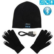 Bluetooth-наушники, зимняя шапка, Теплая Шапка-бини, музыкальная шапка с перчатками, беспроводные Bluetooth-наушники, динамик с микрофоном, спортивна...