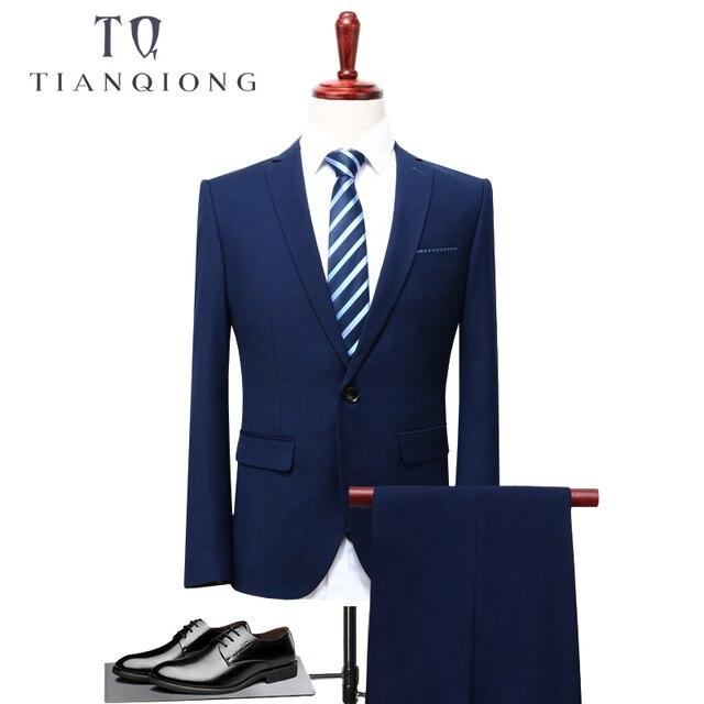 5ca62b18b99 Тянь QIONG 2018 Для мужчин Бизнес костюм Slim fit классический мужской  костюмы пиджаки роскошный две кнопки 2 шт. (пиджак + Штаны)
