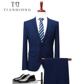 TIAN QIONG 2018 Men Business Suit Slim fit Classic Male Suits Blazers Luxury Suit Men Two Buttons 2 Pieces(Suit jacket+pants) - DISCOUNT ITEM  30% OFF All Category