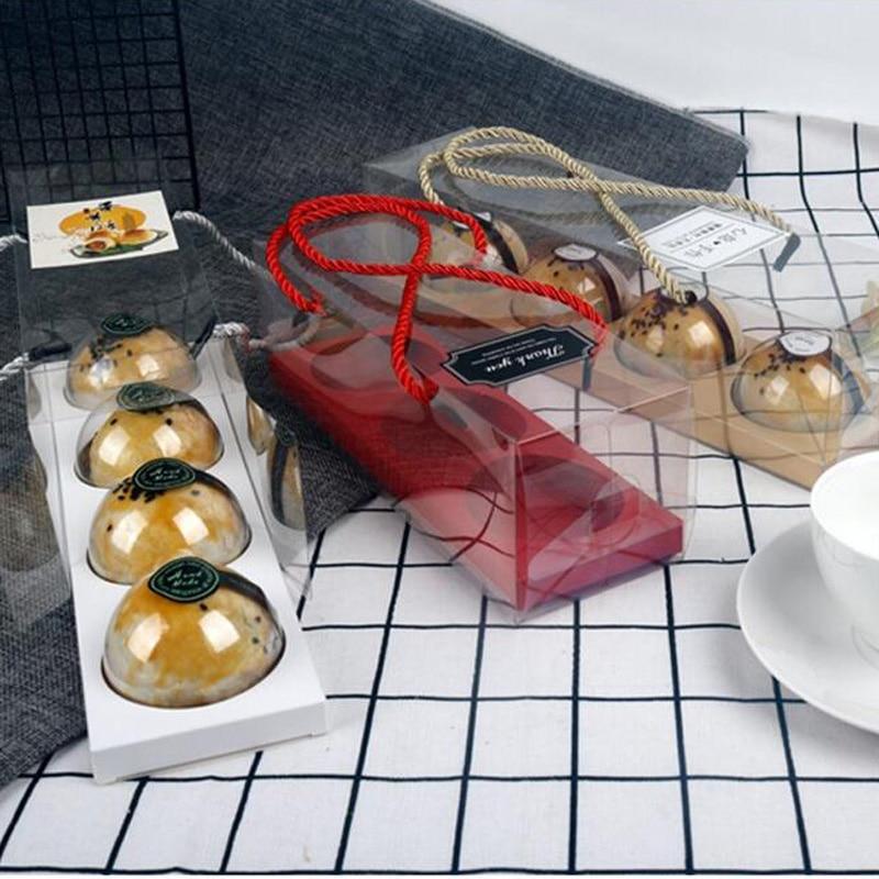100% Kwaliteit 150 Pcs Transparante Pet Plastic Groene Eigeel Scherpe Verpakking Draagbare Cake Geschenkdoos 3/4 Ronde Grid Papier Doos Met Handvat Compleet In Specificaties