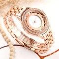 Comtex moda aleación de oro rosa de la muñeca reloj de las mujeres correa de reloj de señoras simplicidad ocasional de cuarzo reloj de pulsera a prueba de agua
