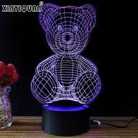 Christmas Gift For Kids USB Bear Pattern 3D Led Night Light Lamp Girls Baby Bedroom LED