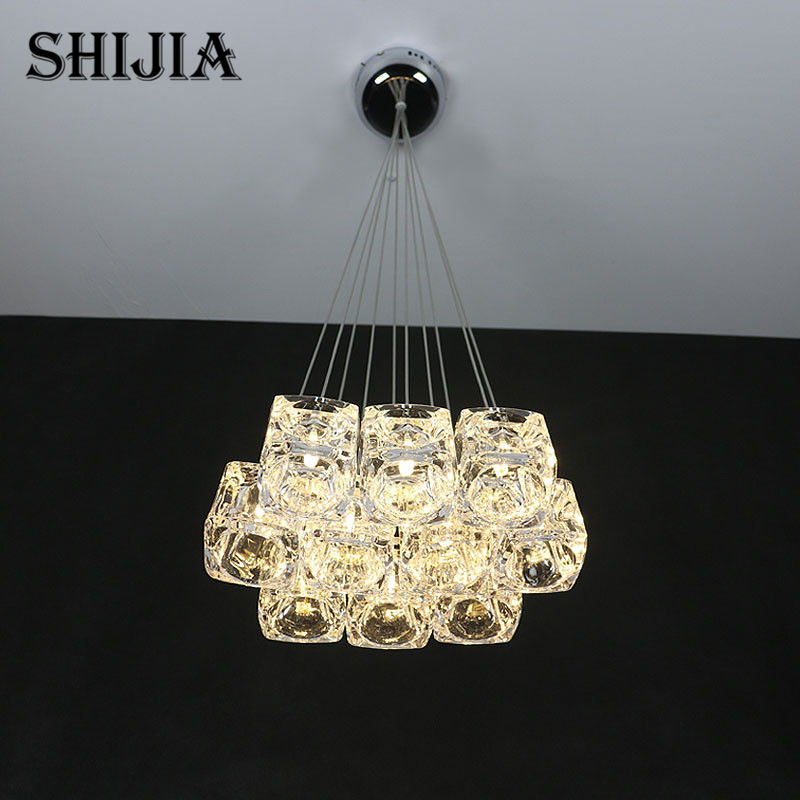 Modern LED Ice Cube Crystal Glass Pendant Lights for Bar Cafe Garment Shop Living room Restaurant Bedroom Hanging Pendant Lamp modern luxury glass diamond shape pendant lamp restaurant hotel clubs cafe pub shop exhibition fair shining crystal drop lights
