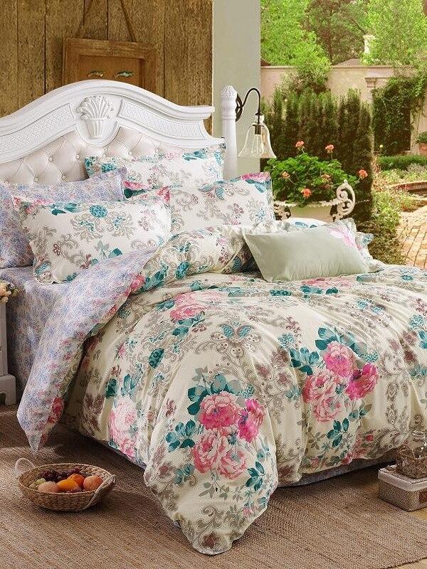Retro Pastoral Style Rose Pattern 4PCS Bedding Set Retro Pastoral Style Rose Pattern 4PCS Bedding Set