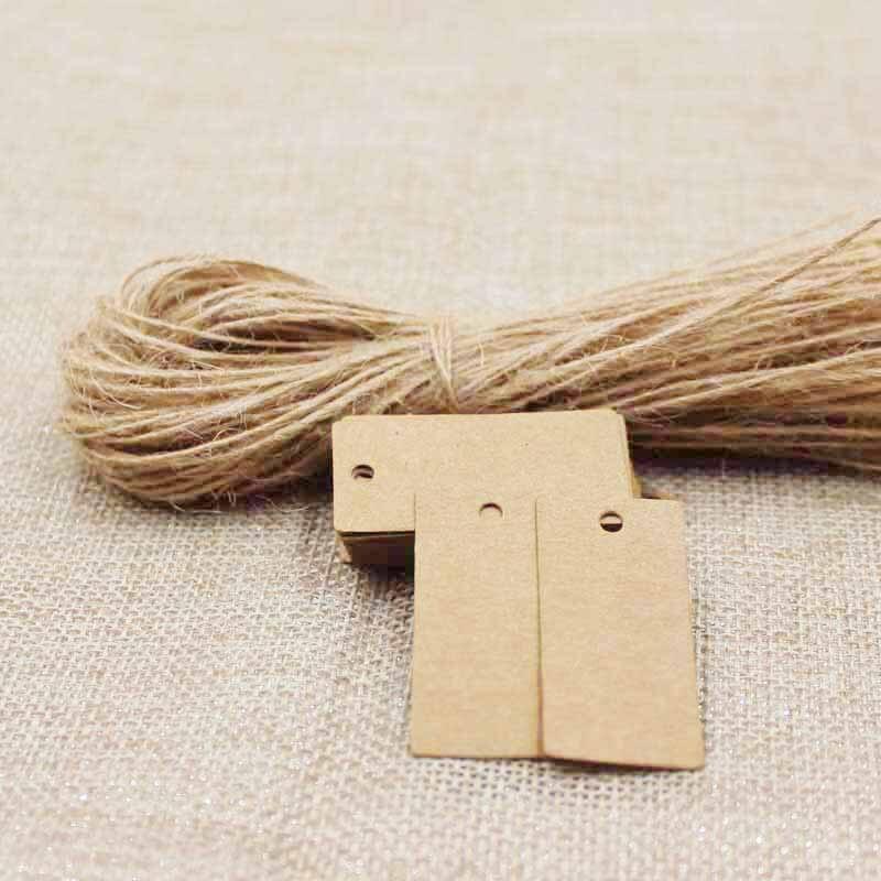 2018 4*2cm blank Gift Tags black/kraft retangular Festival Wedding Decoration Mini Luggage Label 50pcs with 50pcs hemp string
