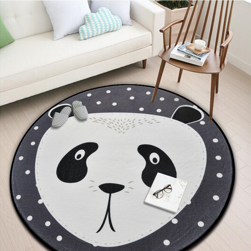 Round Carpet Kids Room Floor Nordic Bedroom Tapete Living Room Soft Rug Carpet Play Mat White Cartoon Bear Panda Home Decoration