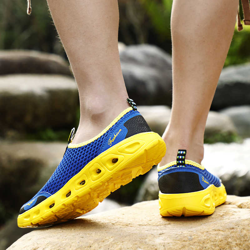 PUAMSS 2019 ผู้ชายเดินป่ากลางแจ้งรองเท้าตาข่าย Breathable Slip - On รองเท้าผ้าใบกลางแจ้งสำหรับ Man Trekking Trail ผู้ชายรองเท้า