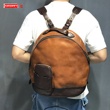 Мужской рюкзак из натуральной кожи, Вместительная дорожная сумка через плечо в стиле милитари, из воловьей кожи, в стиле ретро