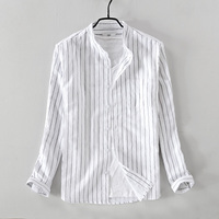 2018 New arrival casual men's striped shirt small stand collar cotton linen shirt mens white pocket shirts male camisa chemise
