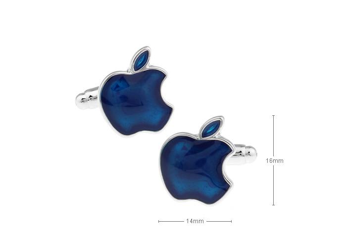 Life element type cufflinks,Apple shape dark blue paint