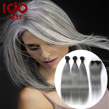 Hot 7A Ombre Brazilian Hair With Closure Silver Ombre Gray/Grey Hair Weave With Lace Closure Bleached Knots Ombre Human Hair