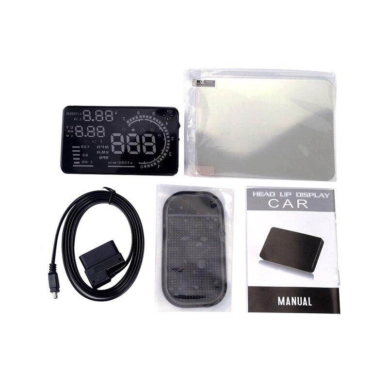 A8 5,5 HUD автомобилей Head Up Дисплей автомобиля самоадаптацией Скорость Предупреждение ветрового стекла проектор автомобиля OBD II EOBD системы дан...