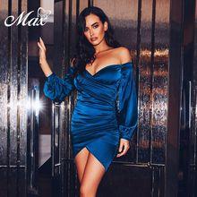 купить Max Spri 2019 New Sexy Off Shoulder Open Shoulder Cut Ruched Cuffed Sleeves Wrap Bodycon Mini Dress по цене 2858.61 рублей