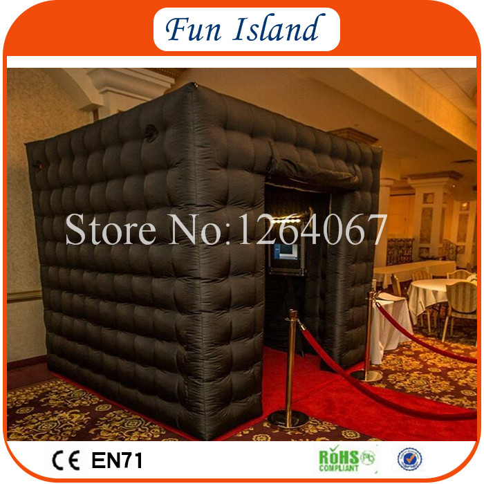 Free Shipping 3x3x3m Black Photobooth Inflatables / Inflatable Photo Kiosk / LED Photo Booth For Sale free shipping black inflatable cheap foldable photo booth for wedding party usage