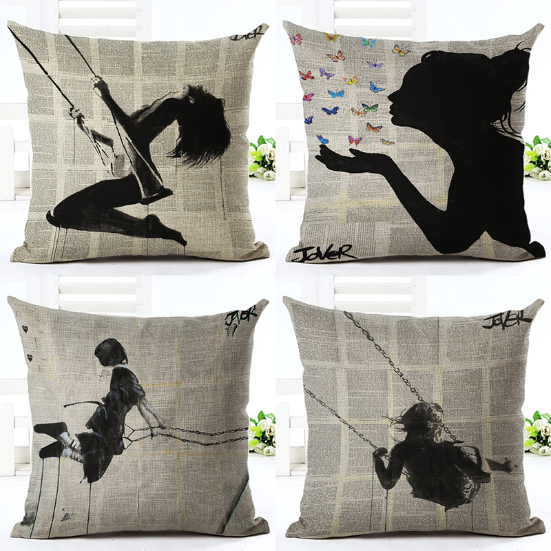Pillow Case Cushion Cover Shadow Girl Square Pillowcase For Sofa Home Decor F
