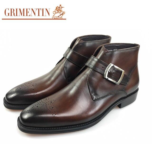 491fb7ece2c8 Neue stil Italien designer herren stiefeletten aus echtem leder  handgemachte geschnitzte luxus retro formale business männer