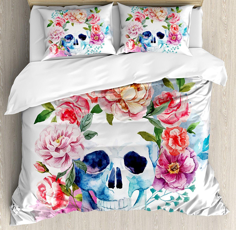 Череп пододеяльник набор смешной череп с красочной цветочной головкой Викторианский стиль мертвый Скелет Графический художественный принт постельные принадлежности набор мульти