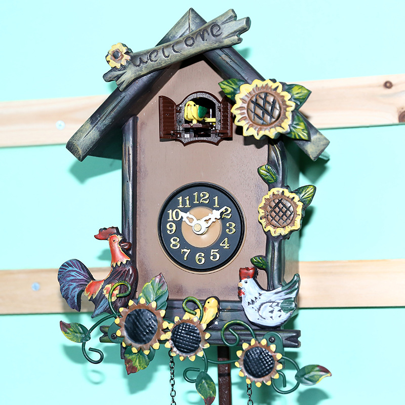 Tuda simple retro style chime cuckoo clock pendulum can print logo wood clock in wall clocks - Cuckoo pendulum wall clock ...